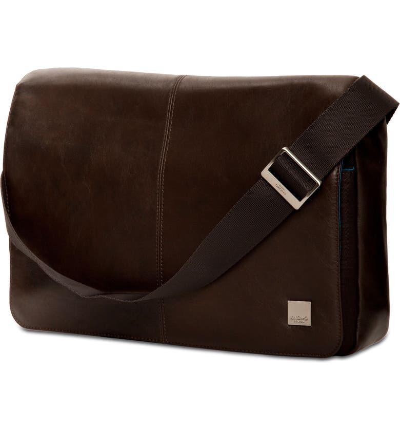 KNOMO LONDON Brompton Kinsale RFID Leather Messenger Bag, Main, color, BROWN