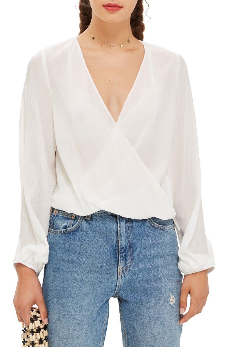 TOPSHOP Casual Drape Wrap Blouse, Main, color, 900