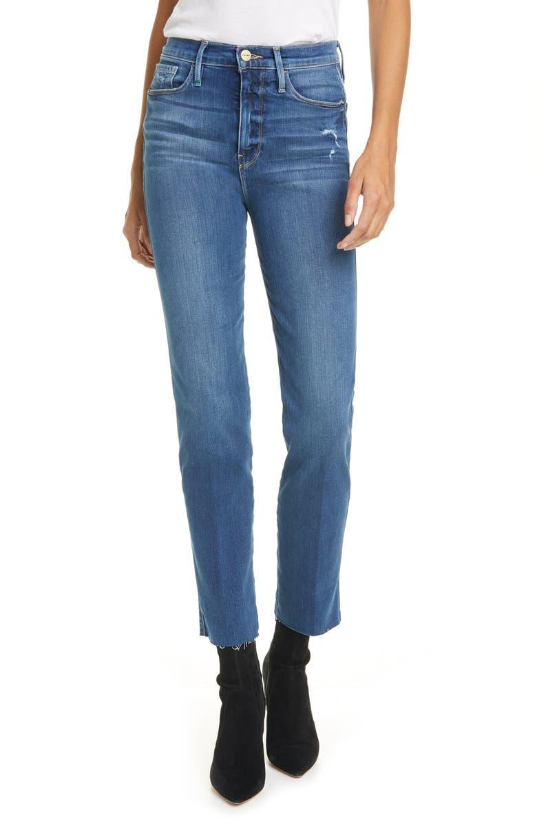 FRAME Le Sylvie High Waist Raw Edge Jeans, Main, color, PACKARD RIPS