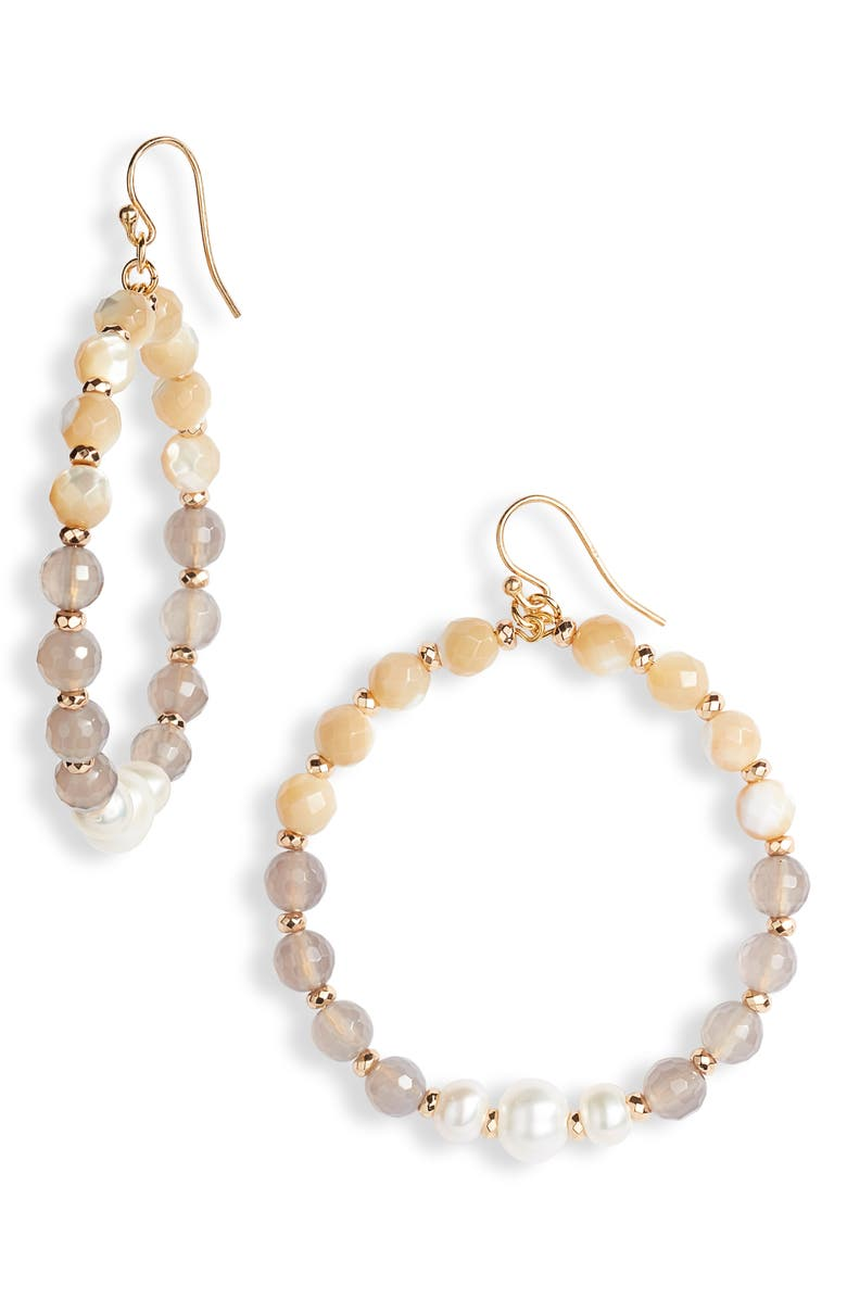 CHAN LUU Semiprecious Stone Hoop Earrings, Main, color, 020