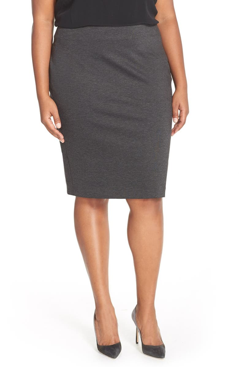 VINCE CAMUTO Ponte Knit Skirt, Main, color, DARK HEATHER GREY