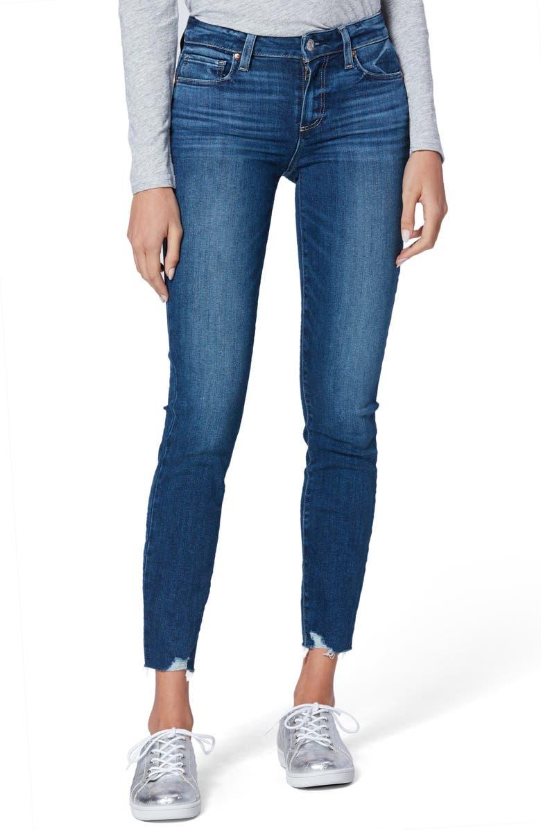 PAIGE Verdugo Rock Slide Hem Ultra Skinny Jeans, Main, color, DOWNTOWN W/ ROCKSLIDE EM