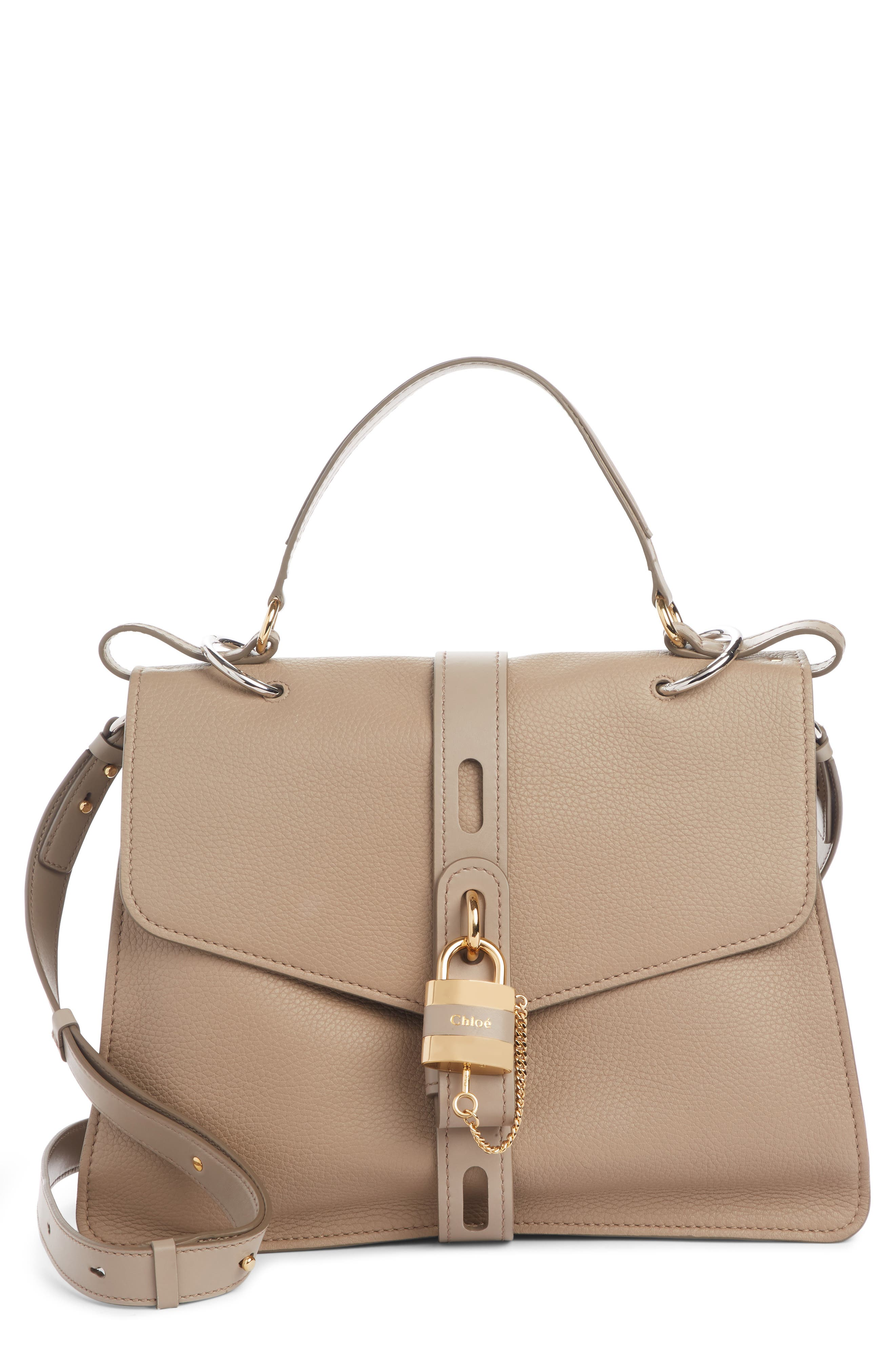 Aby Large Leather Shoulder Bag, Main, color, MOTTY GREY