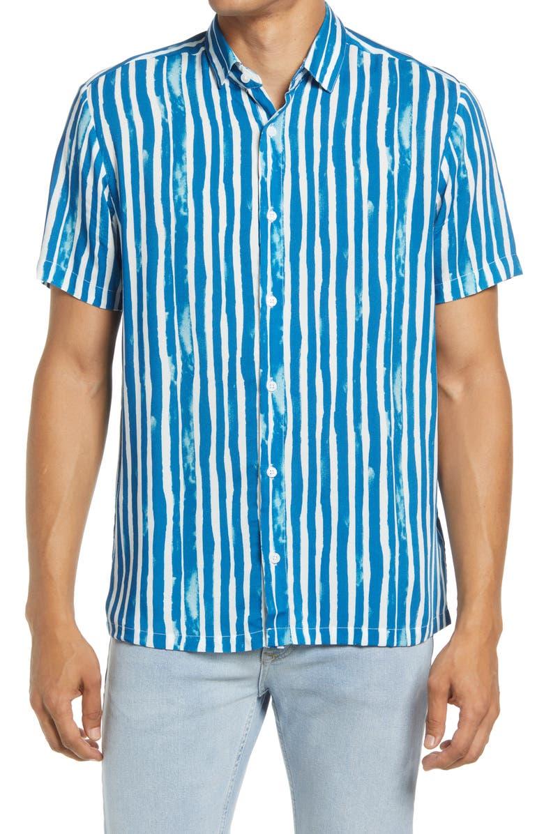 TOPMAN Watercolor Stripe Short Sleeve Button-Up Shirt, Main, color, BLUE