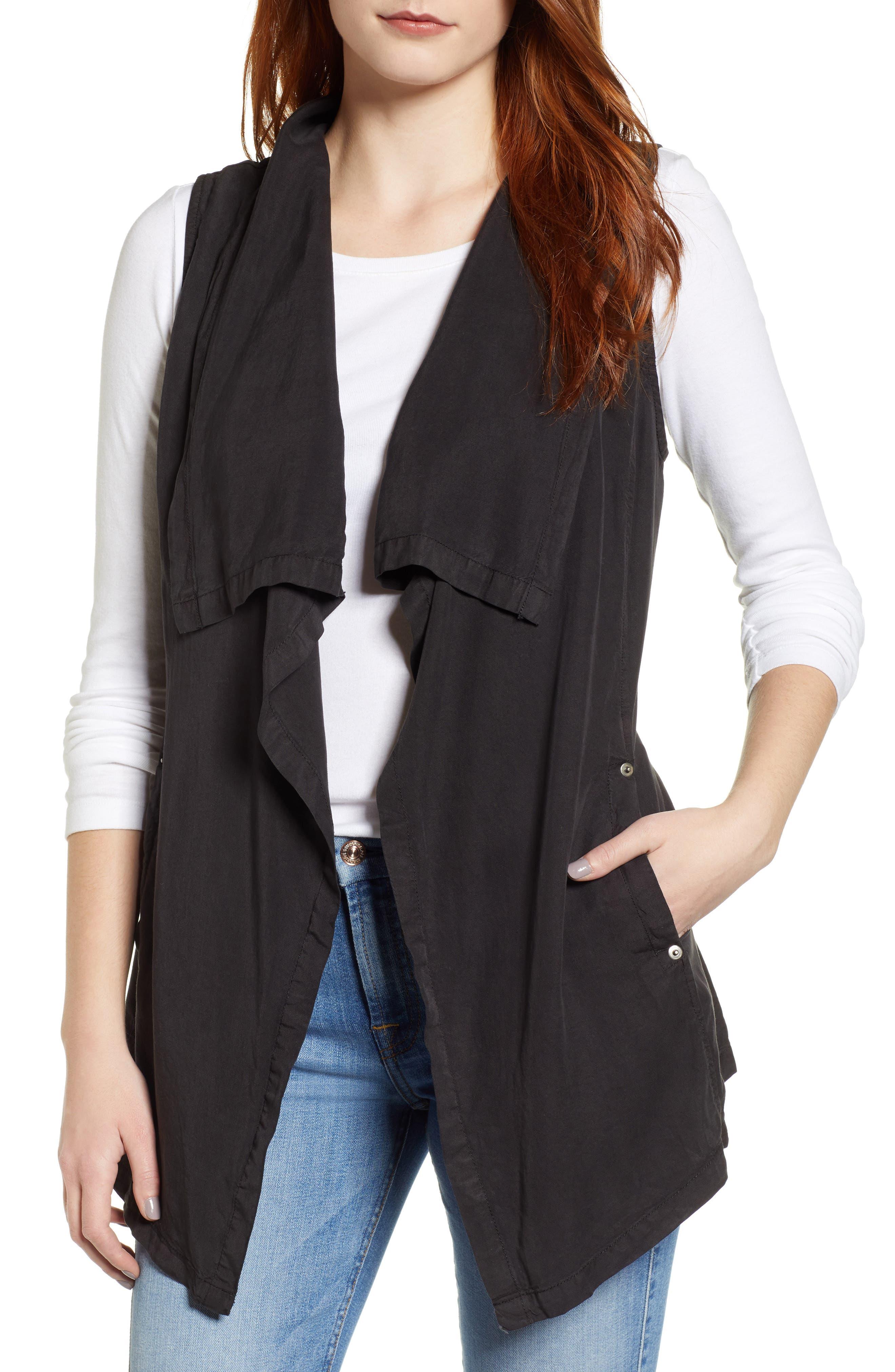 ,                             Drape Front Vest,                             Main thumbnail 1, color,                             BLACK SOOT