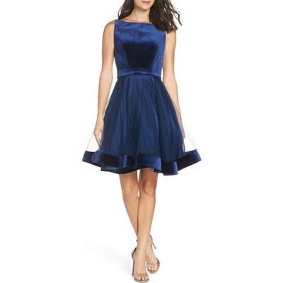 MAC Duggal Velvet & Tulle Party Dress, Blue