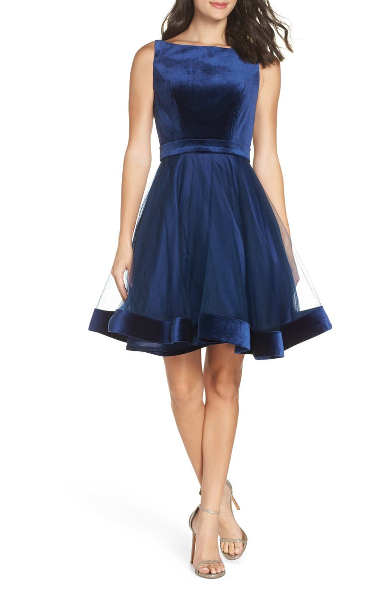 IEENA FOR MAC DUGGAL Mac Duggal Velvet & Tulle Party Dress, Main, color, NAVY