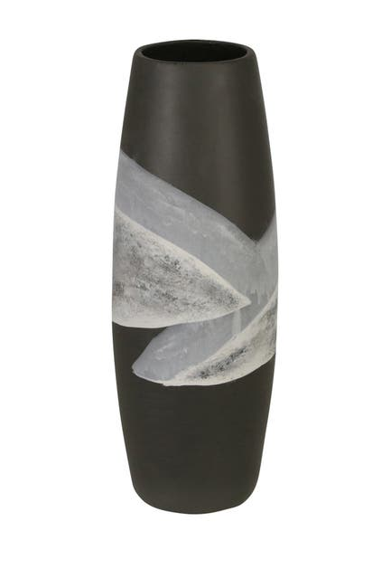 "Image of SAGEBROOK HOME Ceramic 14"" Painted Vase - Matte Black"
