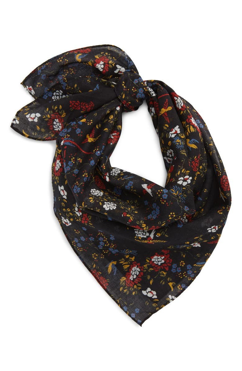 MADEWELL Bandana, Main, color, BIRD FLORAL TRUE BLA