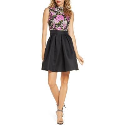 Chi Chi London Sabreen Jacquard Fit & Flare Dress, Black