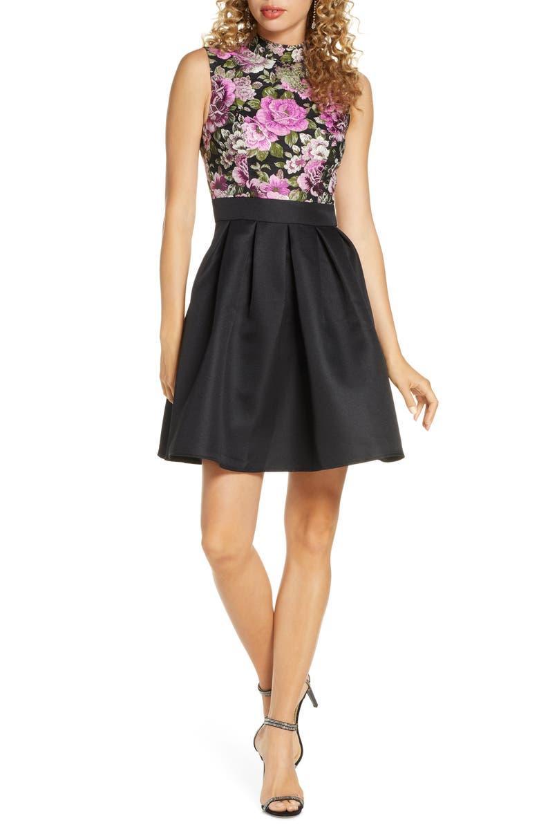 CHI CHI LONDON Sabreen Jacquard Fit & Flare Dress, Main, color, BLACK