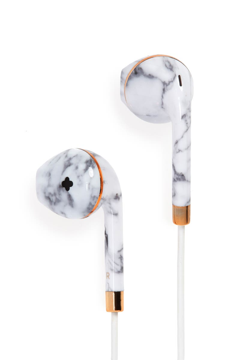 HAPPY PLUGS Wireless II Bluetooth<sup>®</sup> In-Ear Headphones, Main, color, WHITE MARBLE