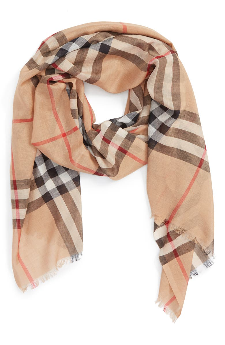 BURBERRY Giant Check Print Wool & Silk Scarf, Main, color, CAMEL CHECK
