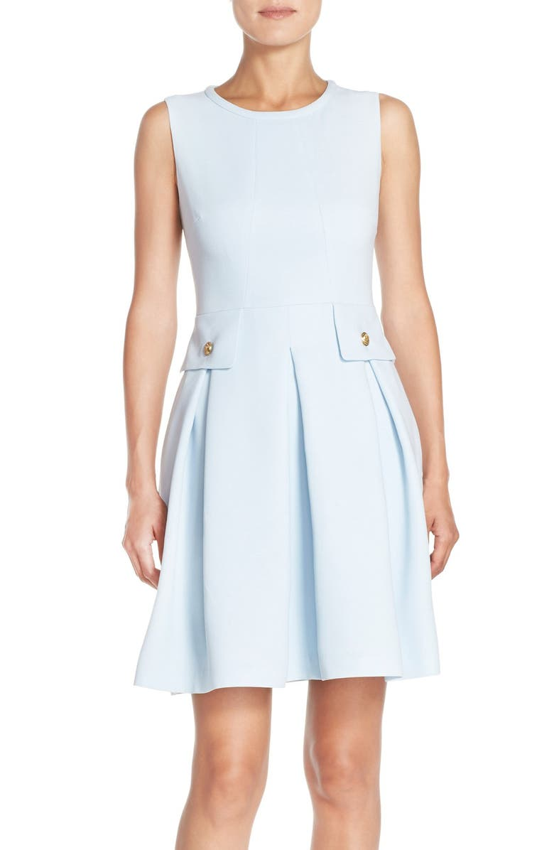 ADRIANNA PAPELL Crepe Fit & Flare Dress, Main, color, 460