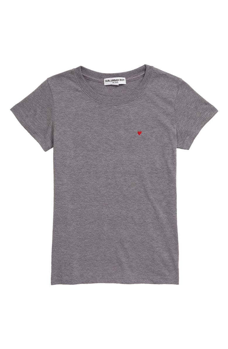 SUB_URBAN RIOT Heart Embroidered Tee, Main, color, 020