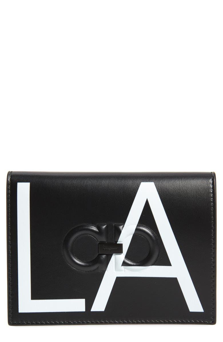 SALVATORE FERRAGAMO LA Leather Passport Holder, Main, color, BLACK/ WHITE