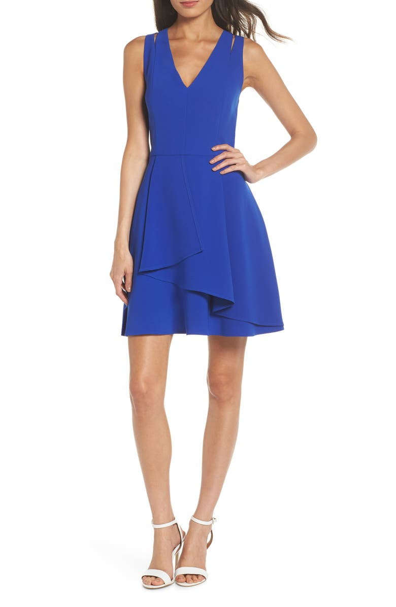 ADELYN RAE Asymmetrical Crepe Fit & Flare Dress, Main, color, 400