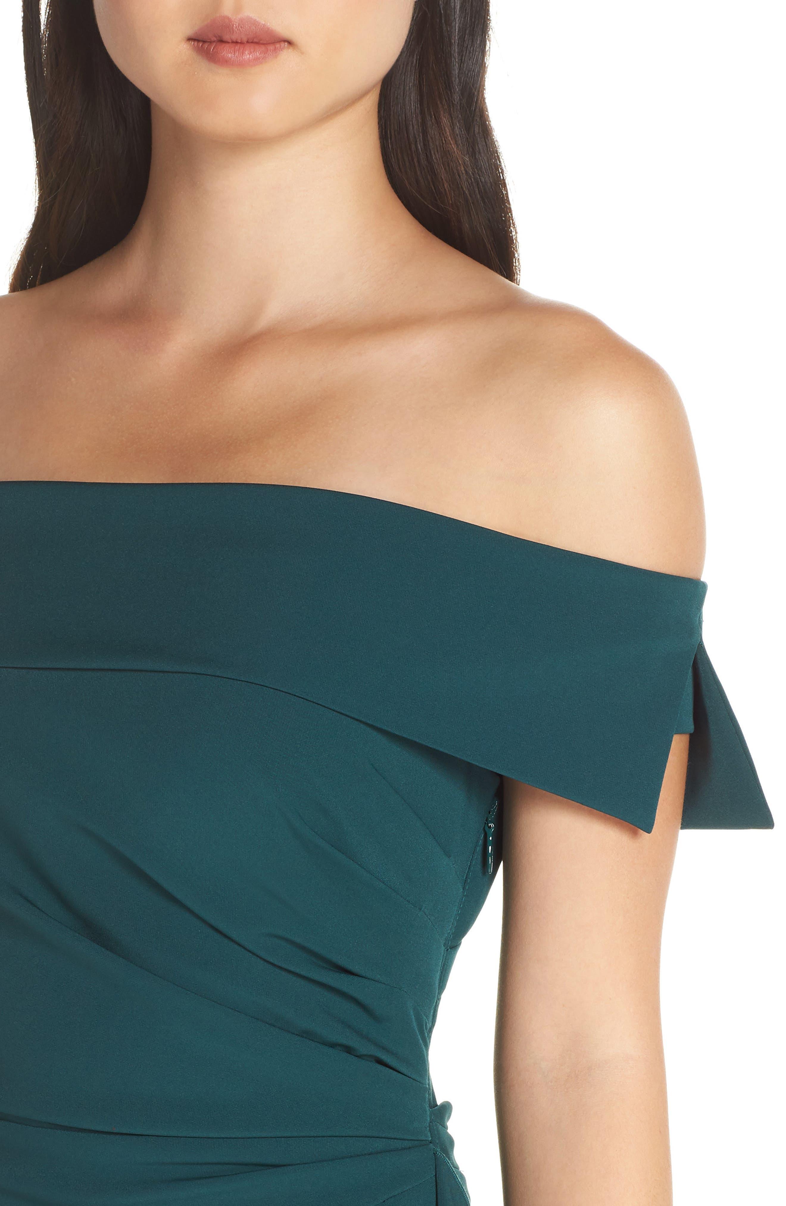 ,                             Off the Shoulder Crepe Gown,                             Alternate thumbnail 12, color,                             301