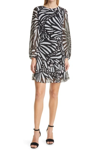 Milly ELMA BUTTERFLY GRAPHIC LONG SLEEVE DRESS