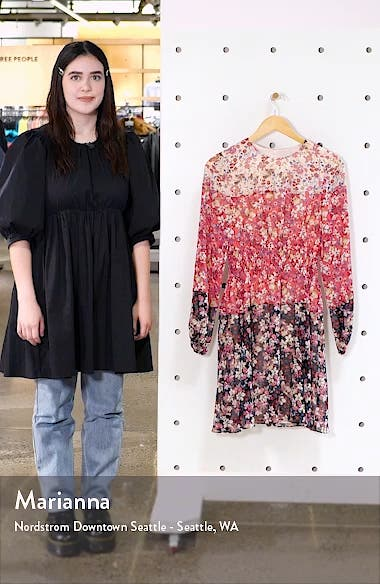 Colorblock Floral Smocked Waist Long Sleeve Dress, sales video thumbnail