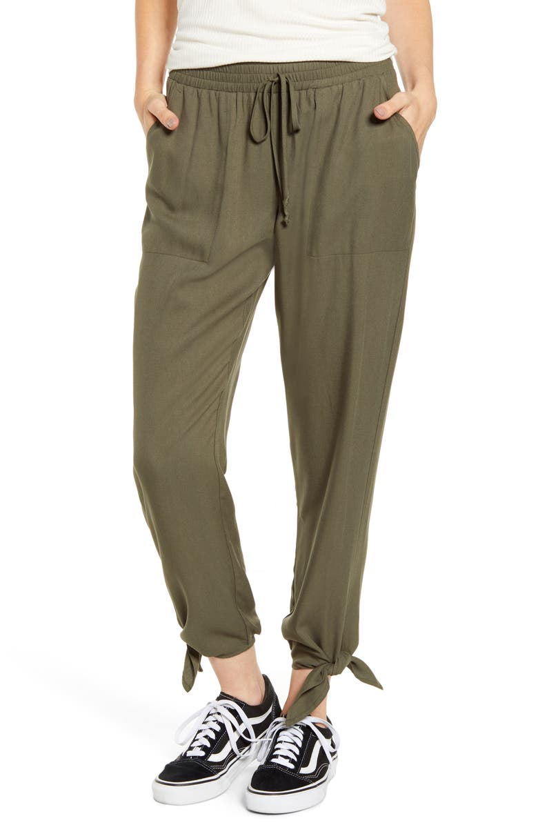 SOCIALITE Ankle Tie Pants, Main, color, OLIVE