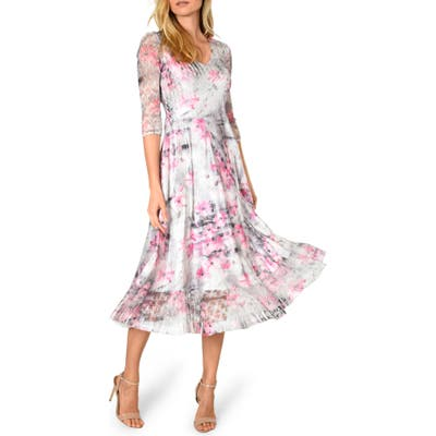 Petite Komarov Charmeuse & Chiffon A-Line Dress, Pink