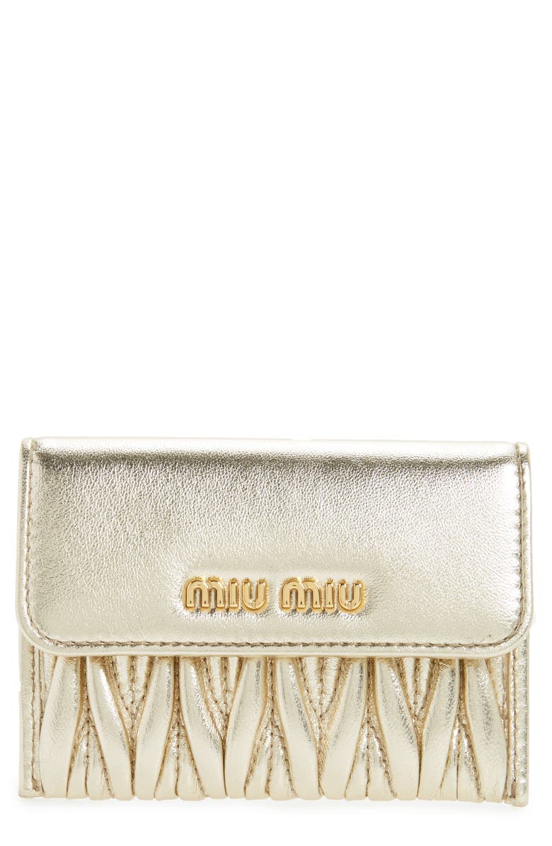 MIU MIU Matelassé Leather Wristlet, Main, color, 029
