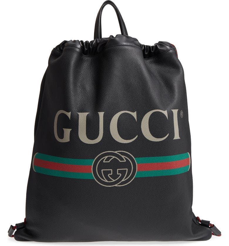 GUCCI Logo Leather Drawstring Backpack, Main, color, 001