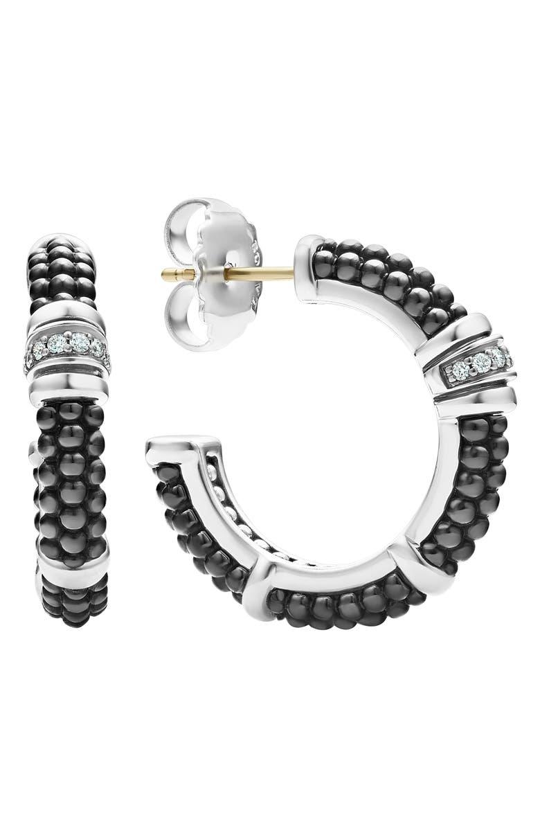 LAGOS Black Caviar Diamond Hoop Earrings, Main, color, SILVER/ BLACK CERAMIC/ DIAMOND
