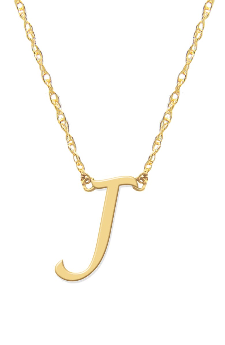 JANE BASCH DESIGNS Script Initial Pendant Necklace, Main, color, GOLD- J