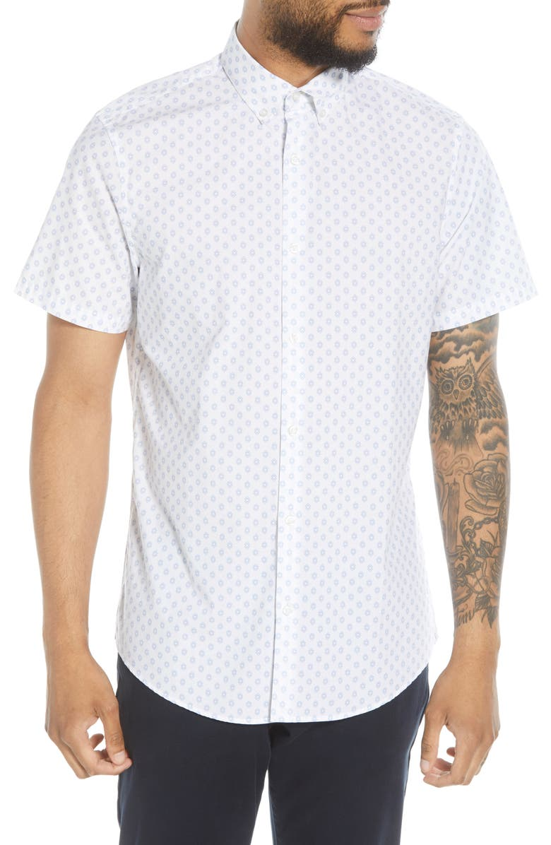 CALIBRATE Slim Fit Print Short Sleeve Button-Down Shirt, Main, color, WHITE BLUE GEO BOX PRINT