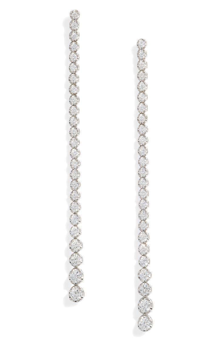 BONY LEVY Graduated Diamond Linear Earrings, Main, color, WHITE GOLD/ DIAMOND