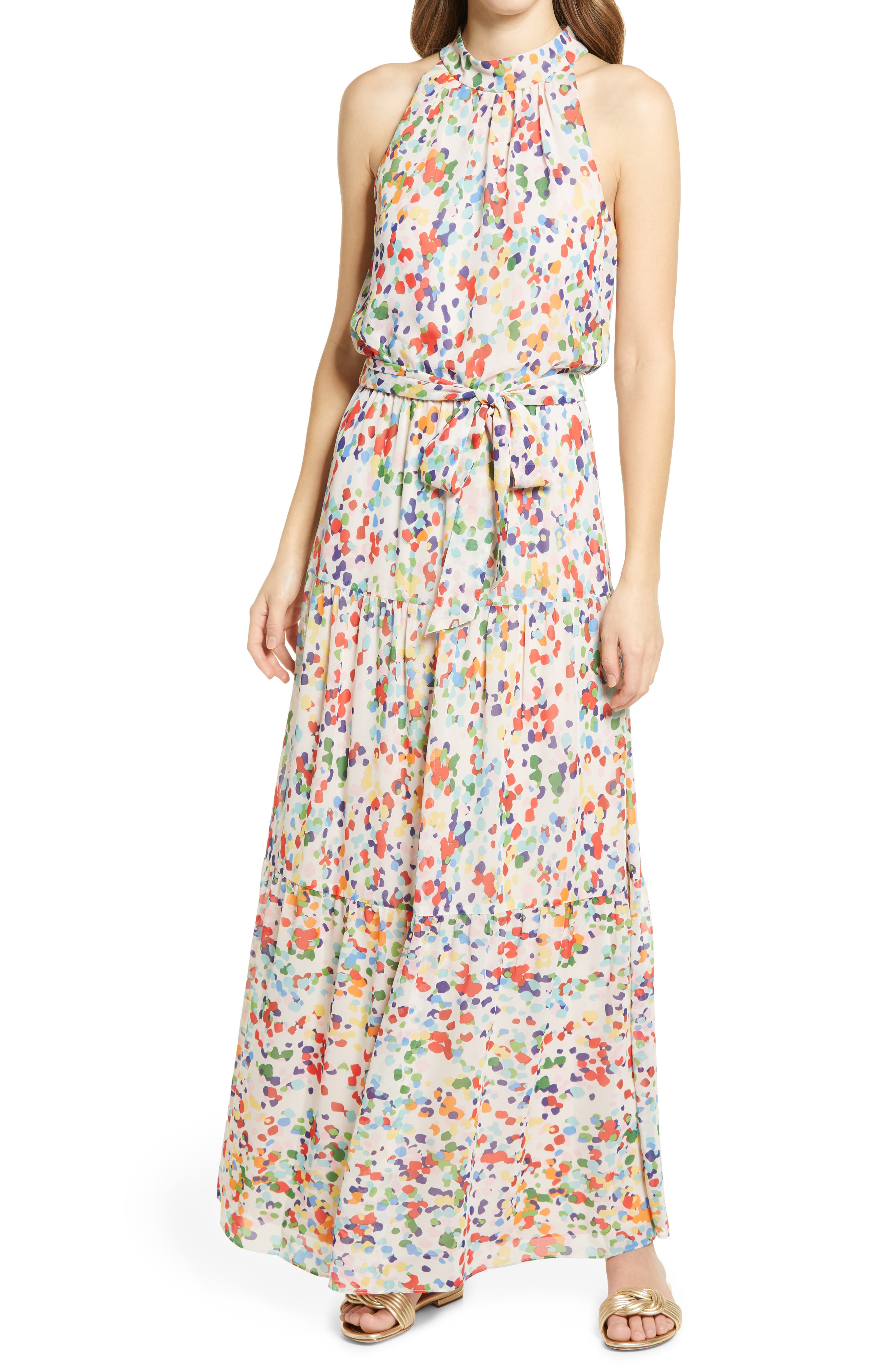 Print Belted Tiered Maxi Dress