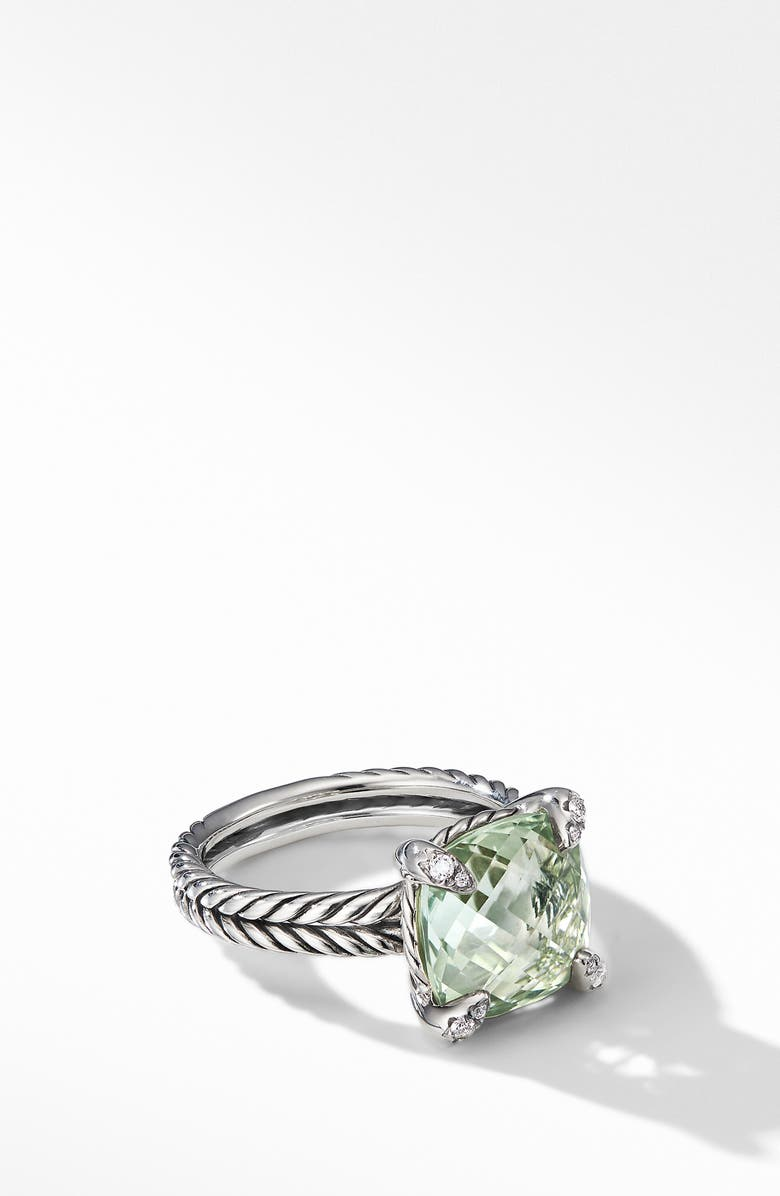 DAVID YURMAN Chatelaine<sup>®</sup> Prasiolite Ring with Diamonds, Main, color, NEW PRASIOLITE