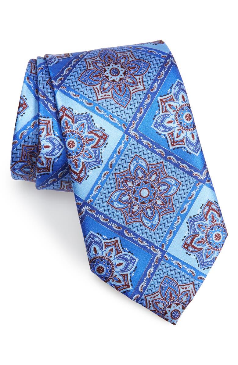 ERMENEGILDO ZEGNA Paisley Grid Silk Tie, Main, color, MEDIUM BLUE FAN