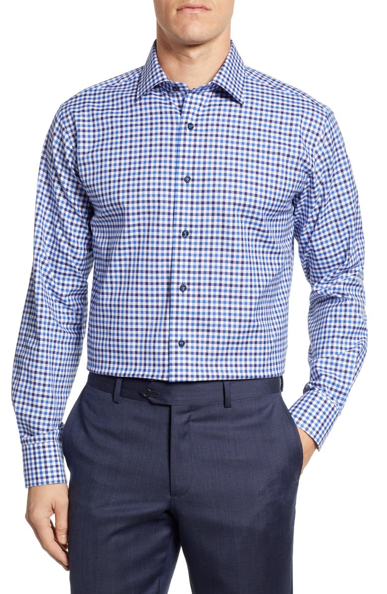 LORENZO UOMO Trim Fit Check Dress Shirt, Main, color, 410