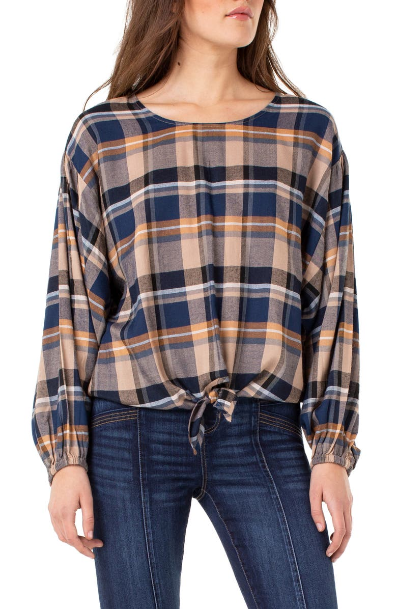 LIVERPOOL Front Tie Plaid Top, Main, color, BLU/ ORG/ WT PLD