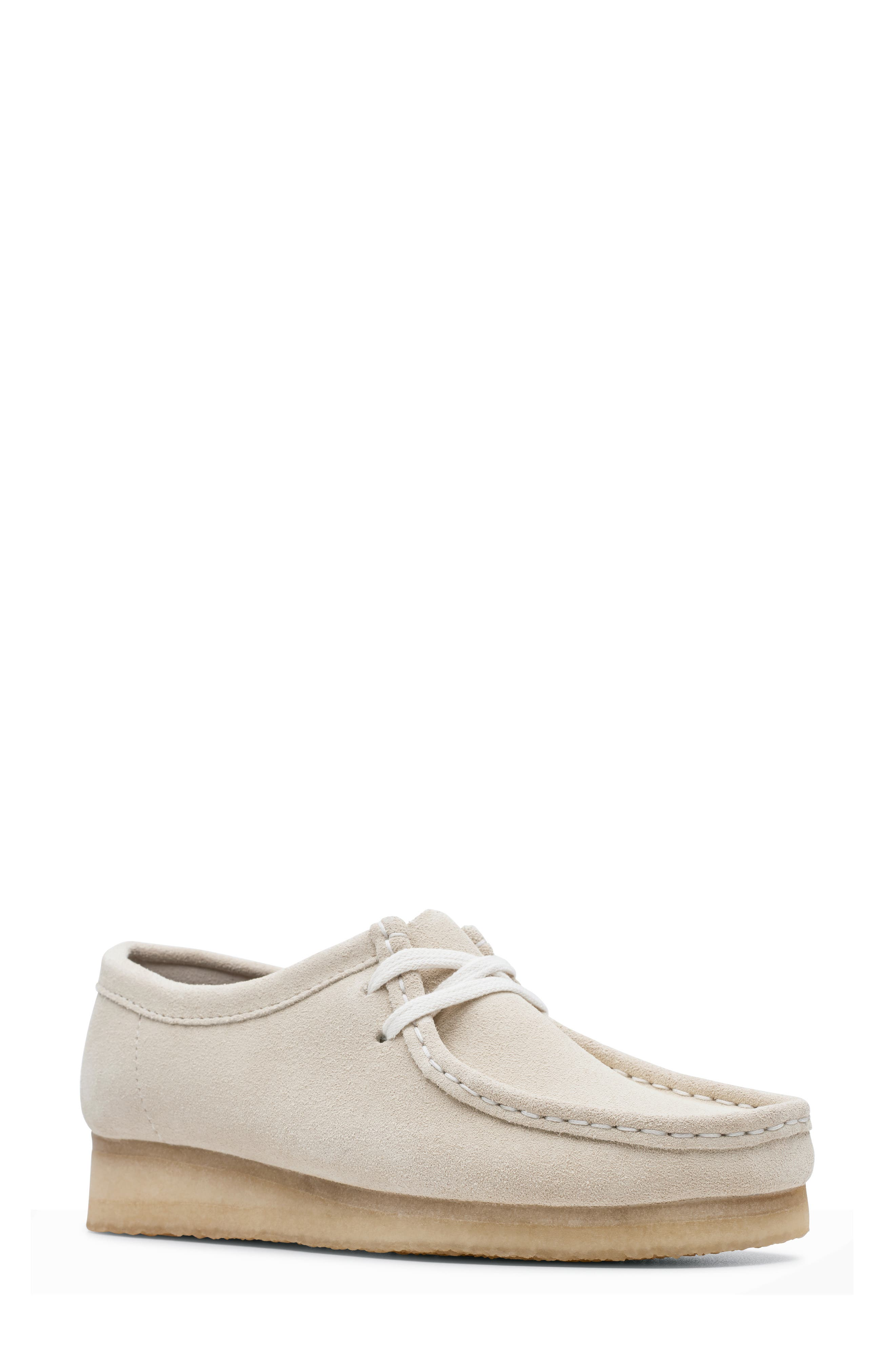 ,                             Wallabee Chukka Boot,                             Main thumbnail 1, color,                             OFF WHITE SUEDE