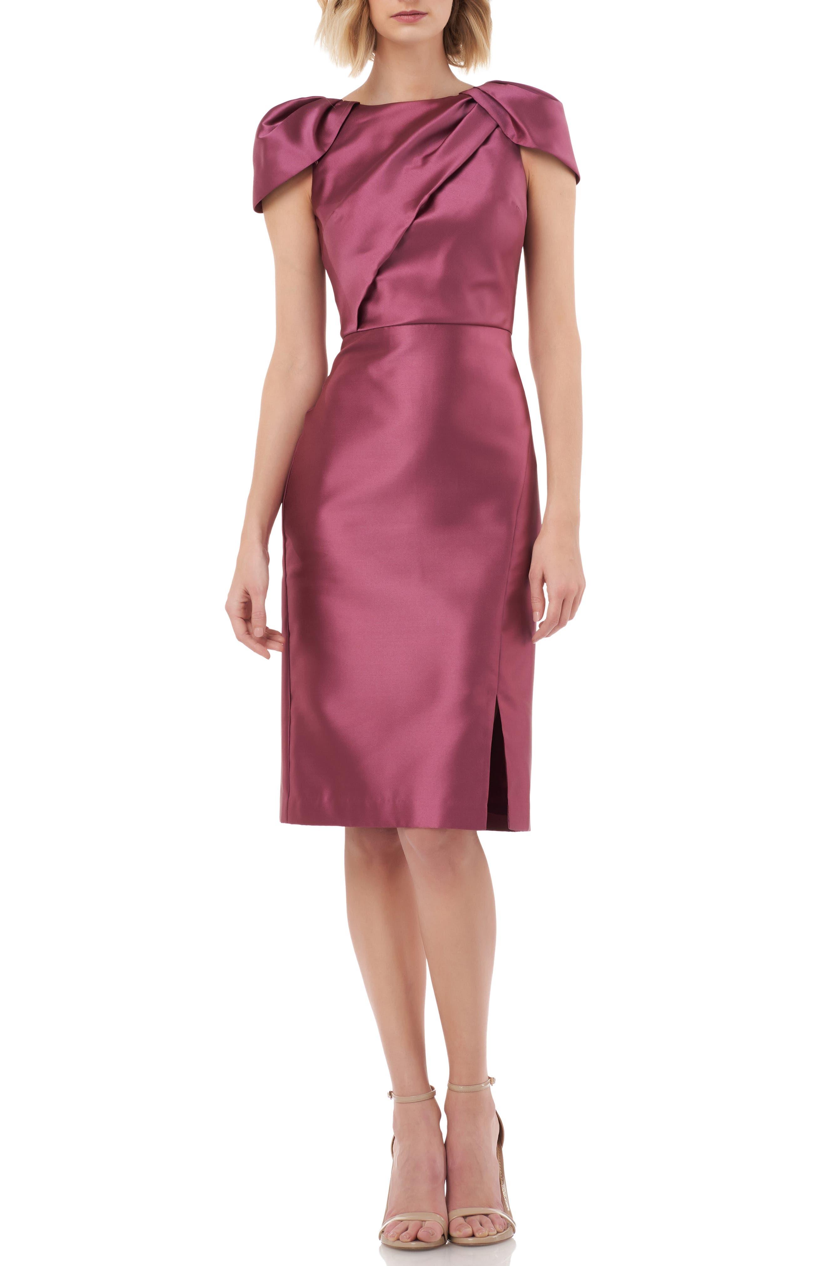 Kay Unger Folded Bodice Mikado Satin Cocktail Dress, Pink