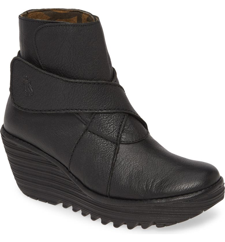 FLY LONDON Yedd Wedge Bootie, Main, color, BLACK LEATHER