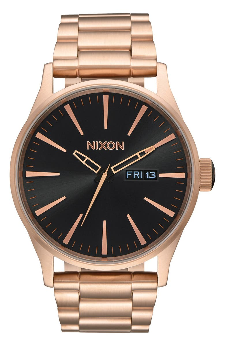 NIXON 'The Sentry' Bracelet Watch, 42mm, Main, color, ROSE GOLD/ BLACK