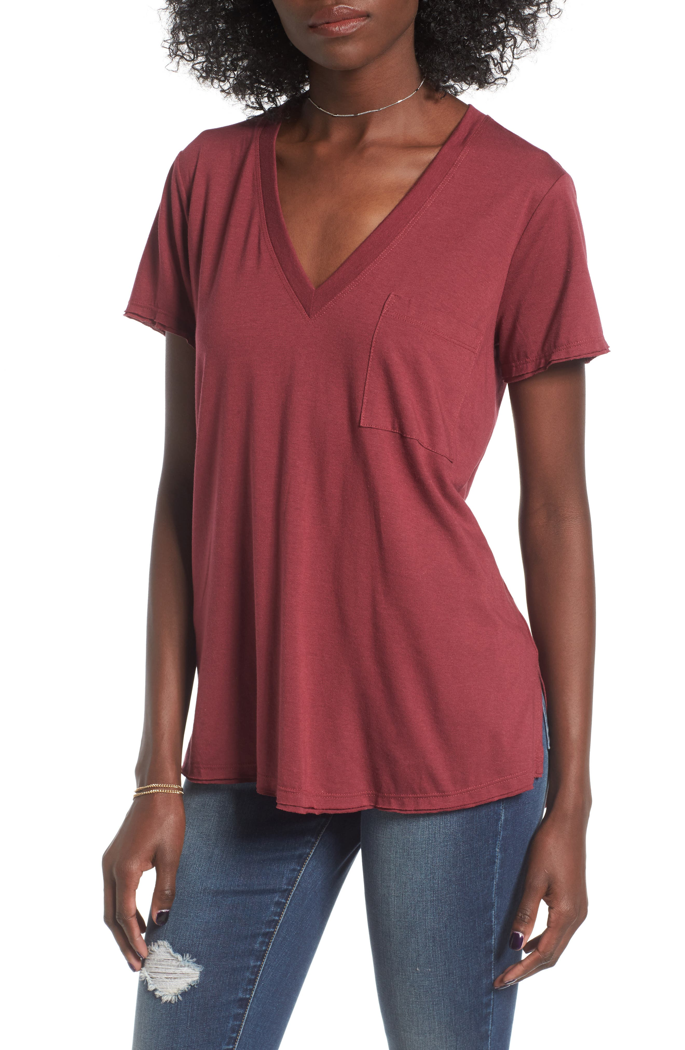 ,                             Raw Edge Side Slit Tee,                             Main thumbnail 42, color,                             930
