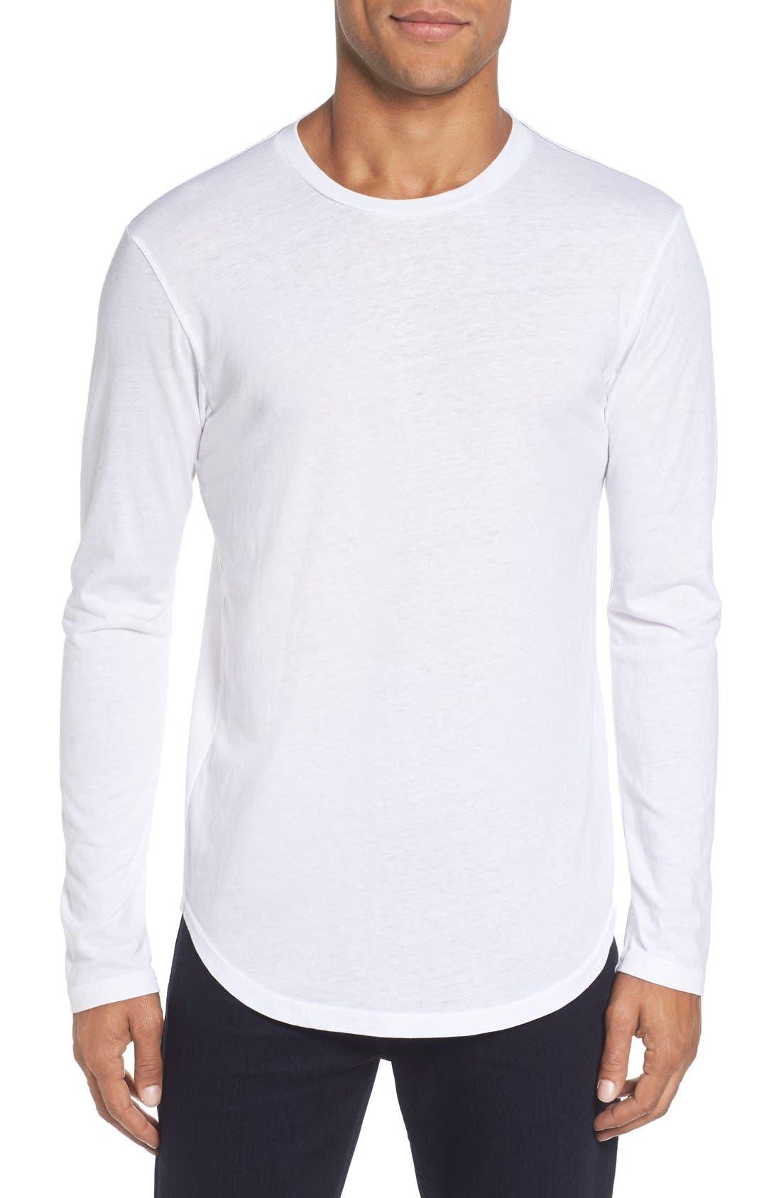 ,                             Triblend Scallop Long Sleeve Crewneck T-Shirt,                             Main thumbnail 13, color,                             100