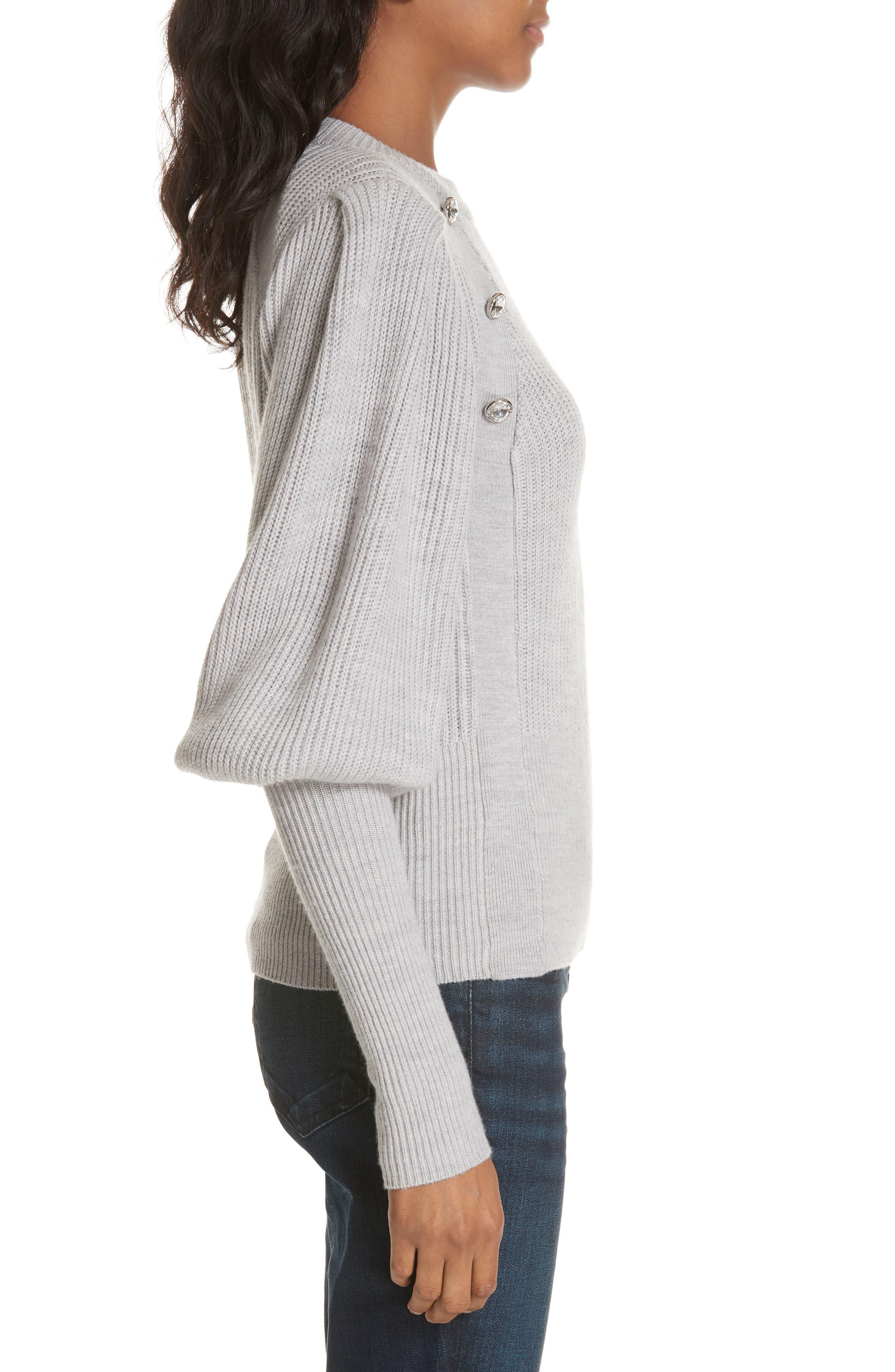 ,                             Jude Crystal Button Merino Wool Sweater,                             Alternate thumbnail 3, color,                             LIGHT GREY