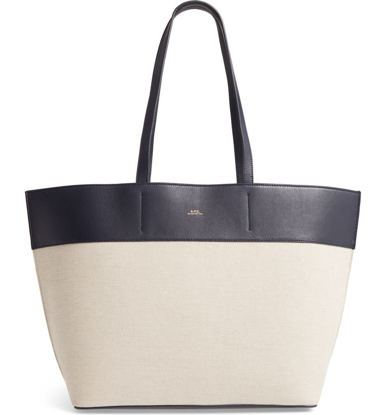 A.P.C. Totally Leather & Canvas Tote Bag, Main, color, 400