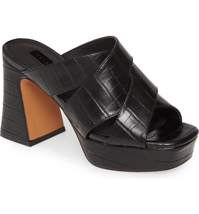 TOPSHOP Richmond Platform Slide Sandal, Main, color, BLACK