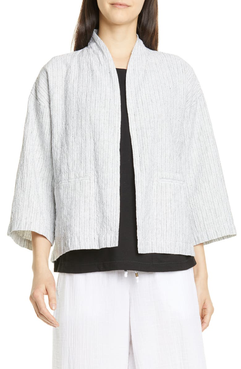 EILEEN FISHER Organic Linen & Cotton Jacket, Main, color, IVORY