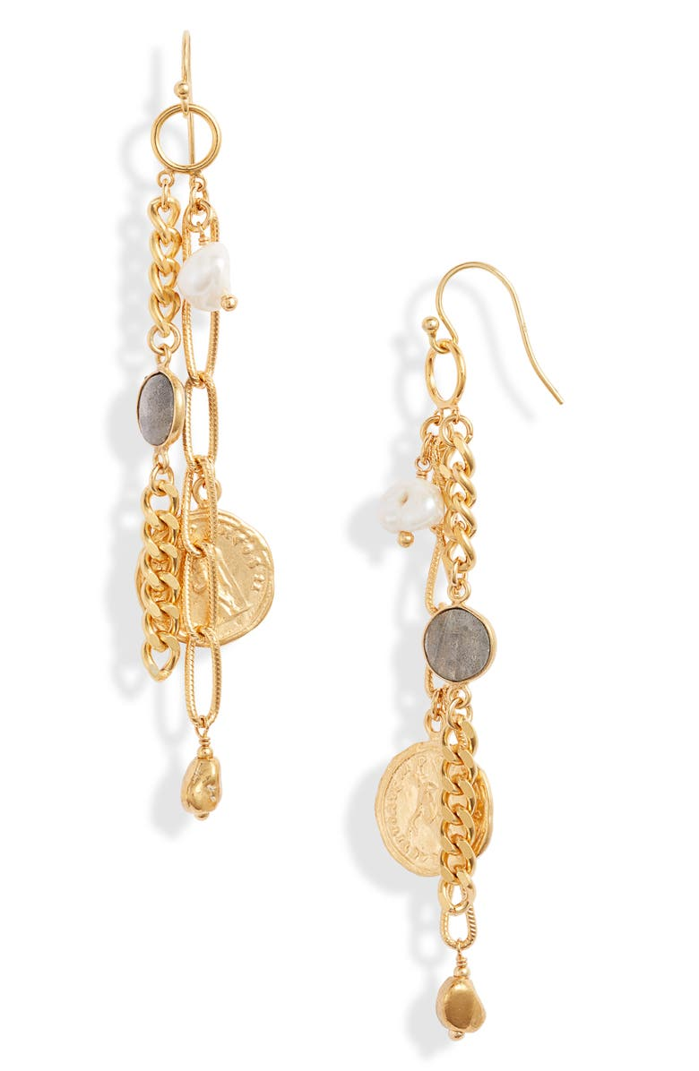 CHAN LUU Coin & Chain Drop Earrings, Main, color, WHITE PEARL MIX