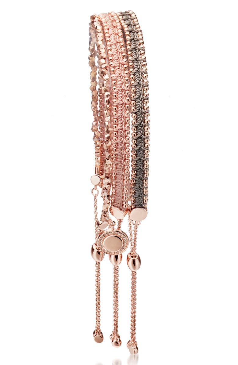 ASTLEY CLARKE Kula Woven Stack Bracelet, Main, color, ROSE GOLD
