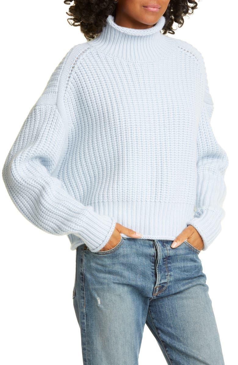 Shaker Stitch Mock Neck Cashmere & Wool Blend Sweater